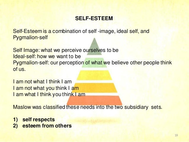 self esteem and the sel concept Self concept is everything you know about yourself self esteem is how you rate what you know about yourself.