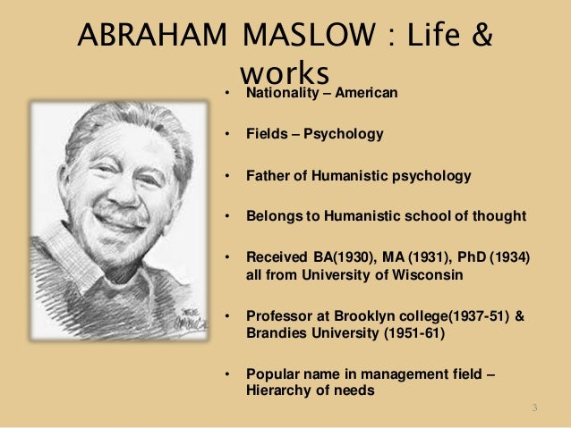 abraham maslow biography Abraham maslow an outline biography abraham maslow - ( abraham harold maslow ), who is widely known of for developing a view that people are successively motivated by.