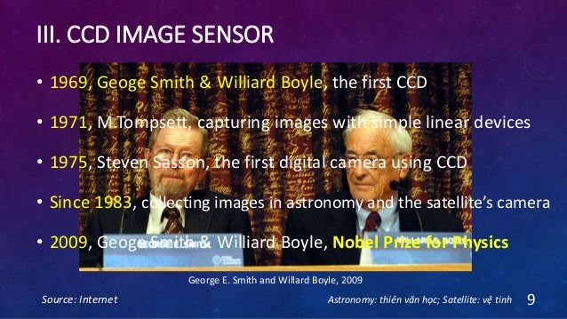 III. CCD IMAGE SENSOR Source: Internet 9 George E. Smith and Willard Boyle, 2009 • 1969, Geoge Smith & Williard Boyle, the...