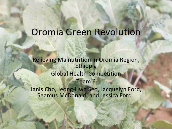 Oromia Green Revolution Relieving Malnutrition in Oromia Region,                 Ethiopia        Global Health Competition...