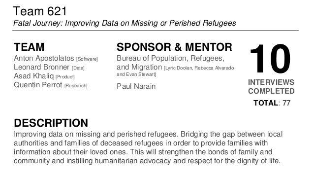 Team 621 Fatal Journey: Improving Data on Missing or Perished Refugees TEAM Anton Apostolatos [Software] Leonard Bronner [...