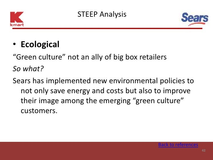 """STEEP Analysis   • Ecological """"Green culture"""" not an ally of big box retailers So what? Sears has implemented new environm..."""