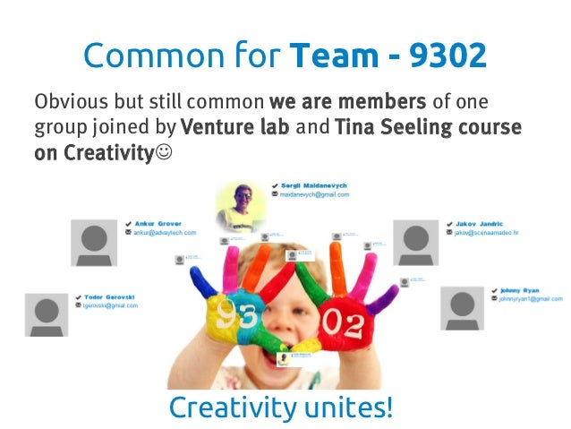 Common for Team - 9302Obvious but still common we are members of onegroup joined by Venture lab and Tina Seeling courseon ...