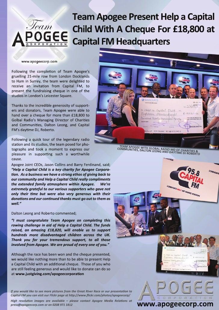 Team Apogee Corporation Ltd Capital FM - Cheque presentation