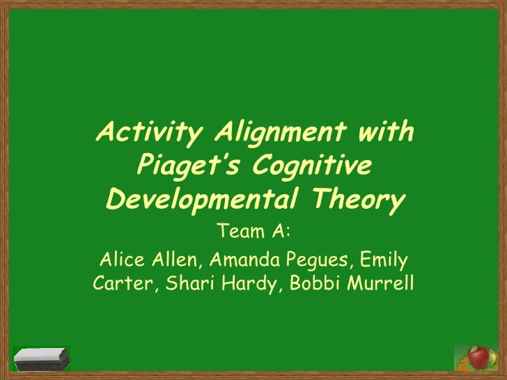 Activity Alignment with Piaget's Cognitive Developmental Theory Team A: Alice Allen, Amanda Pegues, Emily Carter, Shari Ha...