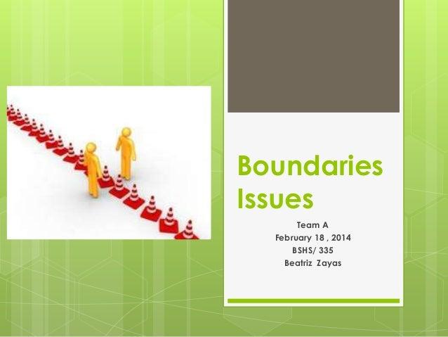 Boundaries Issues Team A February 18 , 2014 BSHS/ 335 Beatriz Zayas