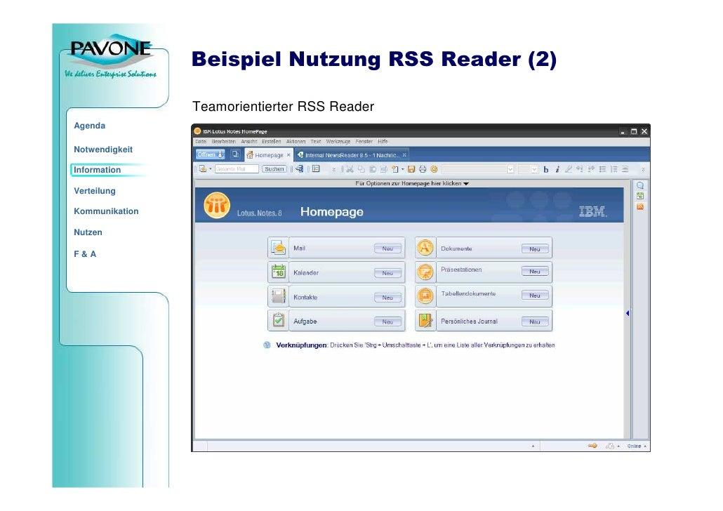 Beispiel Nutzung RSS Reader (2)                  Teamorientierter RSS Reader Agenda  Notwendigkeit  Information  Verteilun...