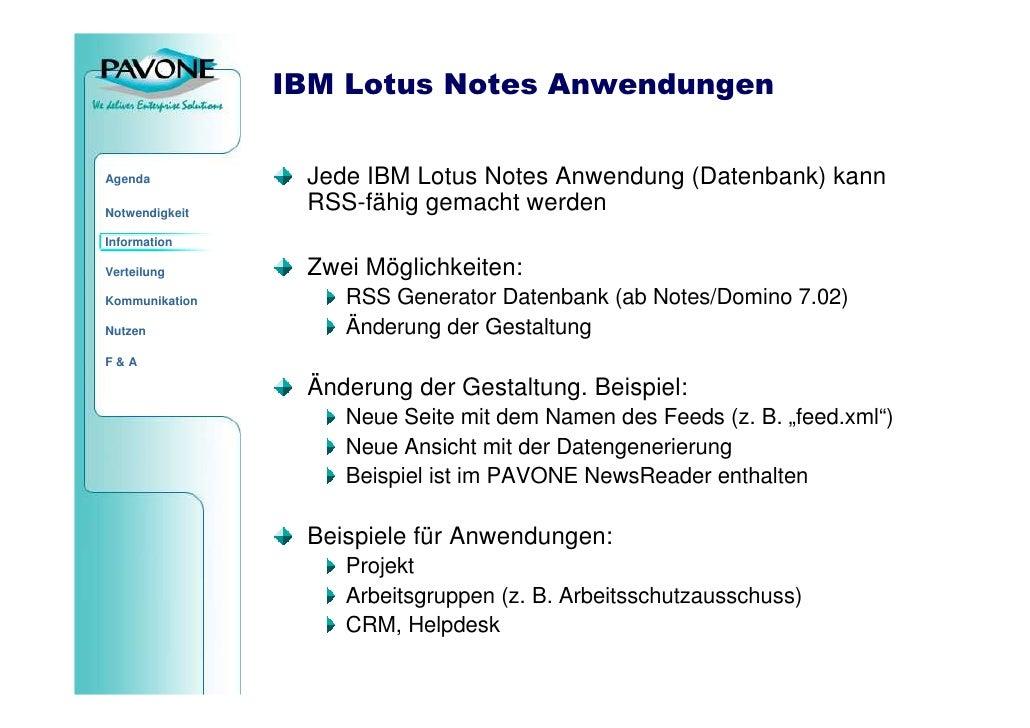 IBM Lotus Notes Anwendungen                    Jede IBM Lotus Notes Anwendung (Datenbank) kann Agenda                   RS...