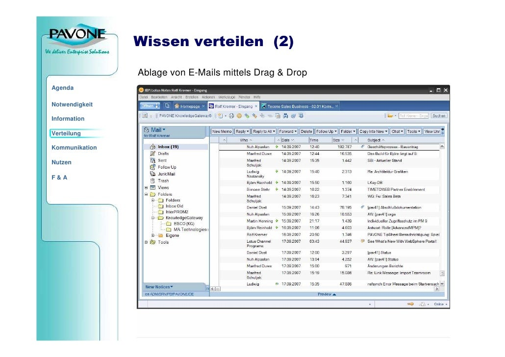 Wissen verteilen (2)                  Ablage von E-Mails mittels Drag & Drop Agenda  Notwendigkeit  Information  Verteilun...