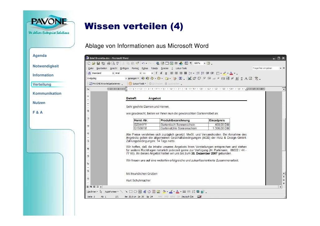 Wissen verteilen (4)                  Ablage von Informationen aus Microsoft Word Agenda  Notwendigkeit  Information  Vert...