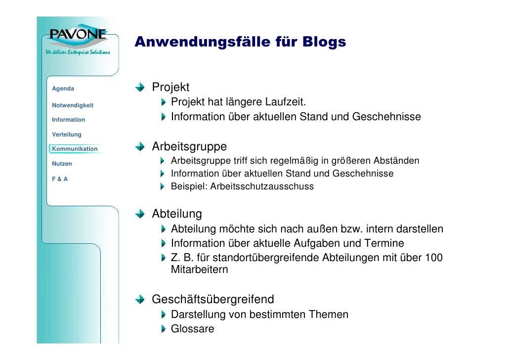 Anwendungsfälle für Blogs                     Projekt Agenda                       Projekt hat längere Laufzeit. Notwendig...