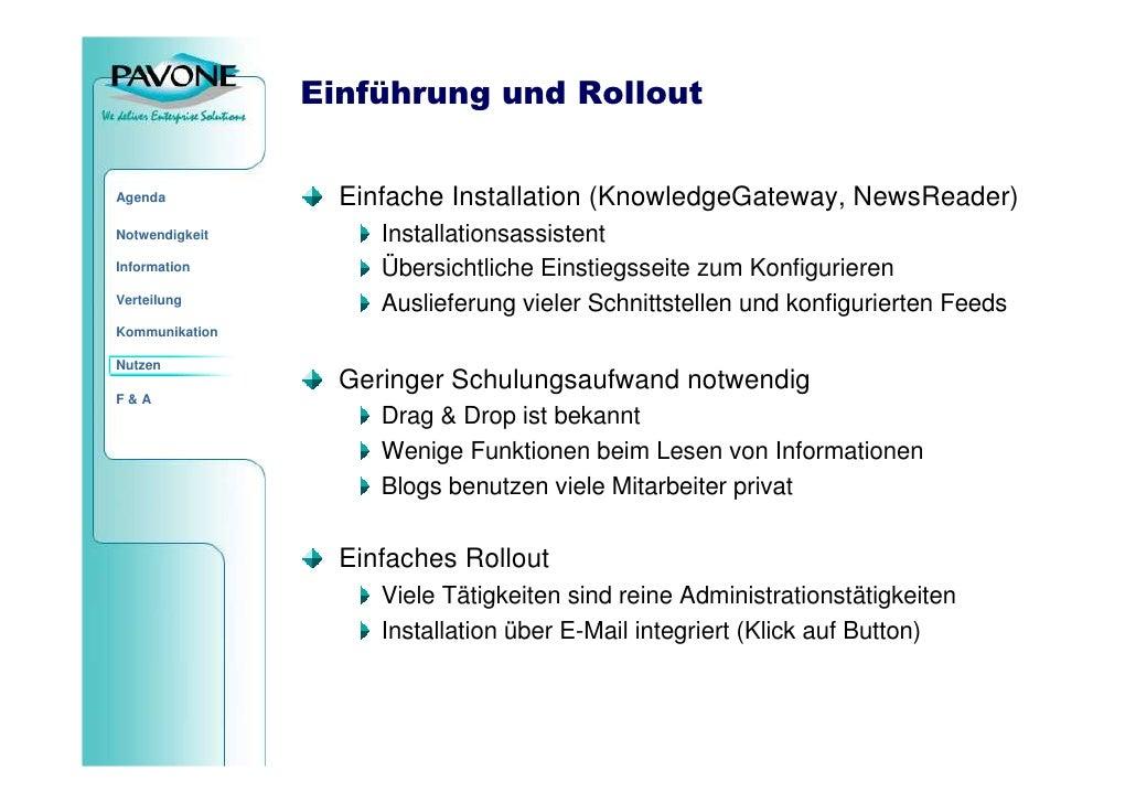 Einführung und Rollout                     Einfache Installation (KnowledgeGateway, NewsReader) Agenda                    ...