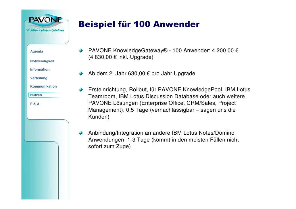 Beispiel für 100 Anwender                    PAVONE KnowledgeGateway® - 100 Anwender: 4.200,00 € Agenda                   ...
