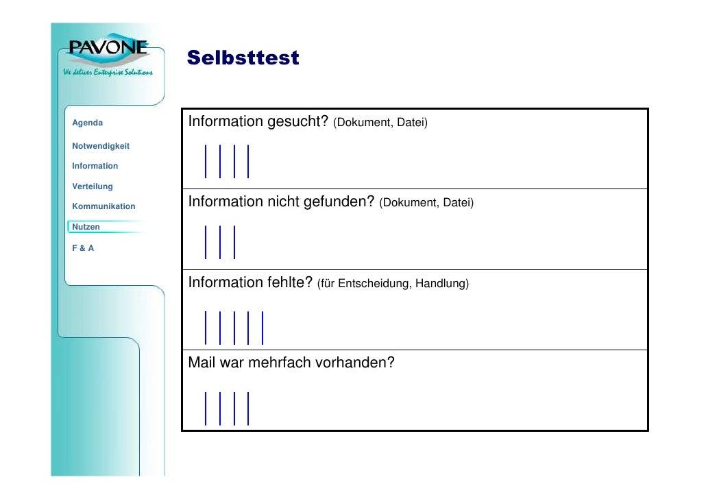Selbsttest                   Information gesucht? (Dokument, Datei) Agenda  Notwendigkeit  Information  Verteilung        ...