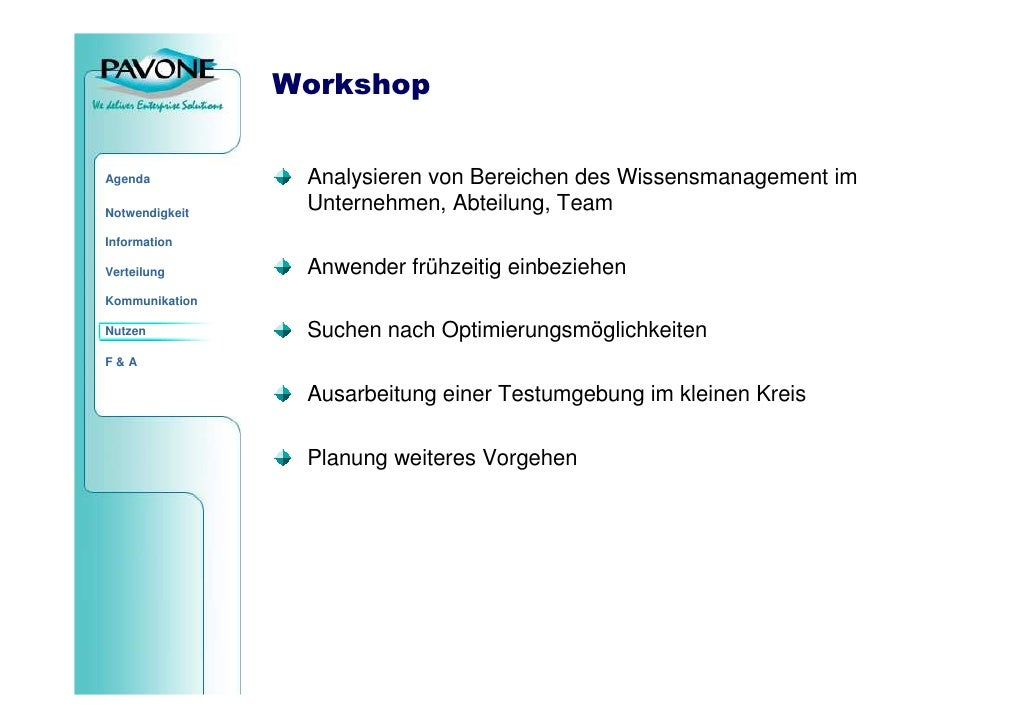 Workshop                    Analysieren von Bereichen des Wissensmanagement im Agenda                   Unternehmen, Abtei...