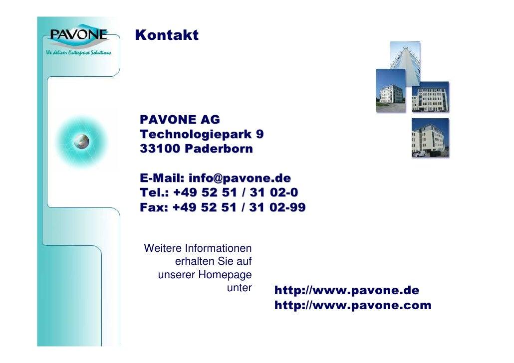 Kontakt   Agenda  Notwendigkeit                  PAVONE AG Information                  Technologiepark 9 Verteilung      ...