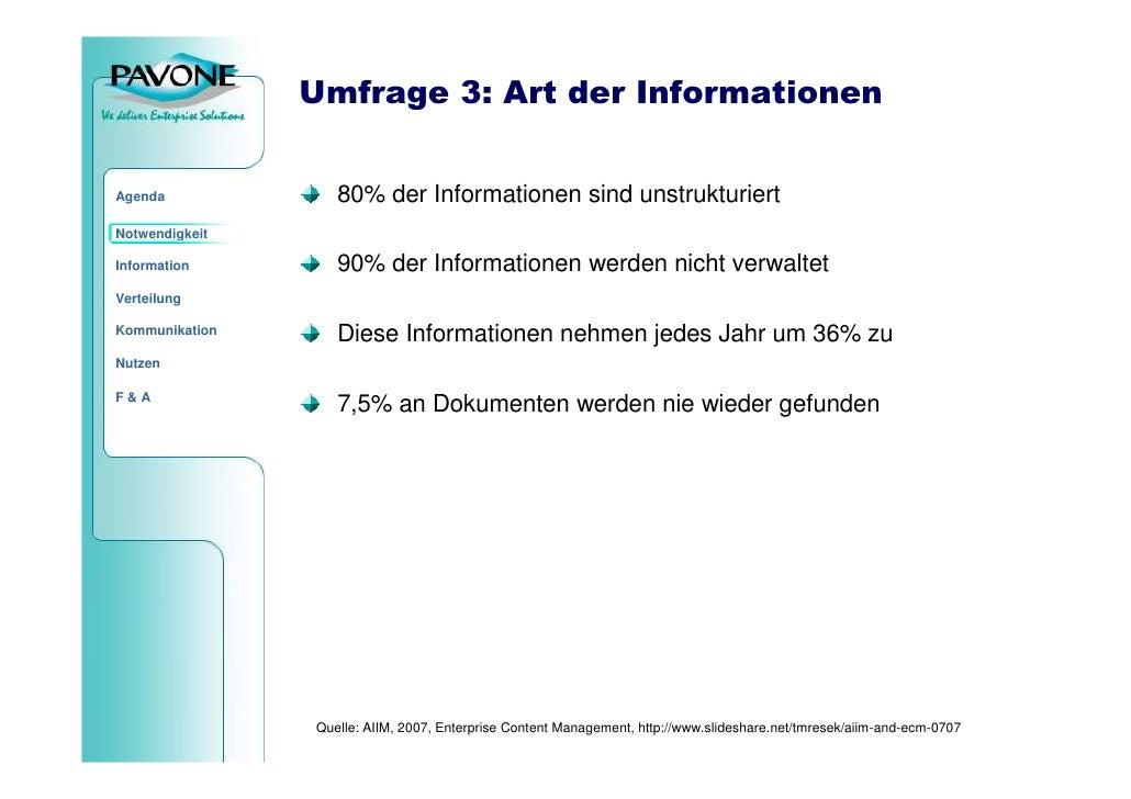 Umfrage 3: Art der Informationen                      80% der Informationen sind unstrukturiert Agenda  Notwendigkeit     ...