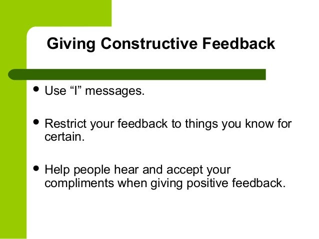 observing and giving constructive feedback Setting objectives and providing feedback  and providing feedback have positive impacts on student achievement  goal of providing feedback is to give students.