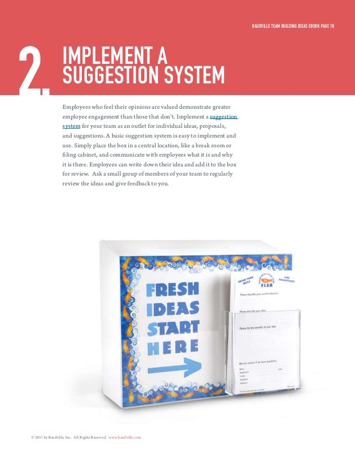 Baudville Team Building ideas eBook Page 102.                imPlemenT a                  suggesTion sysTem               ...