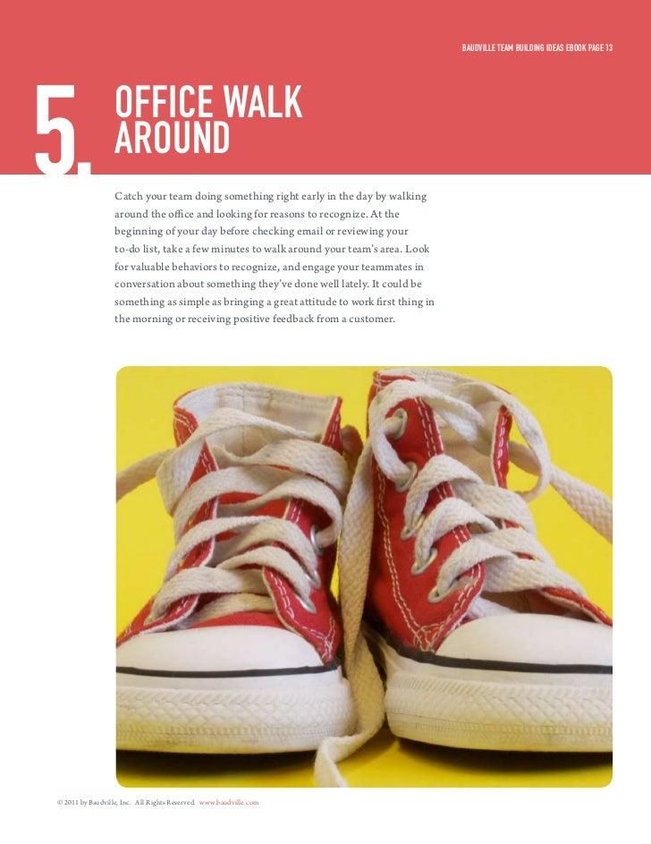 Baudville Team Building ideas eBook Page 135.                office walk                  around                  Catch yo...
