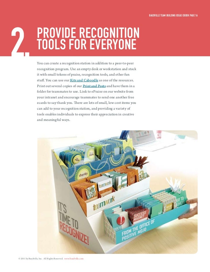 Baudville Team Building ideas eBook Page 162.                Provide recogniTion                  Tools for everyone      ...