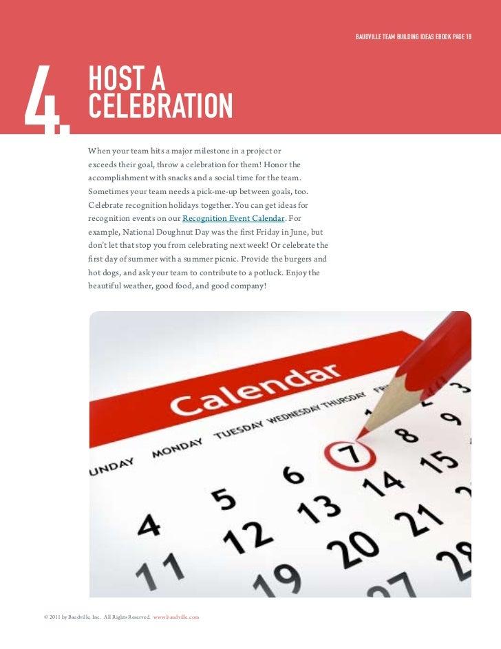 Baudville Team Building ideas eBook Page 184.                HosT a                  celeBraTion                  When you...