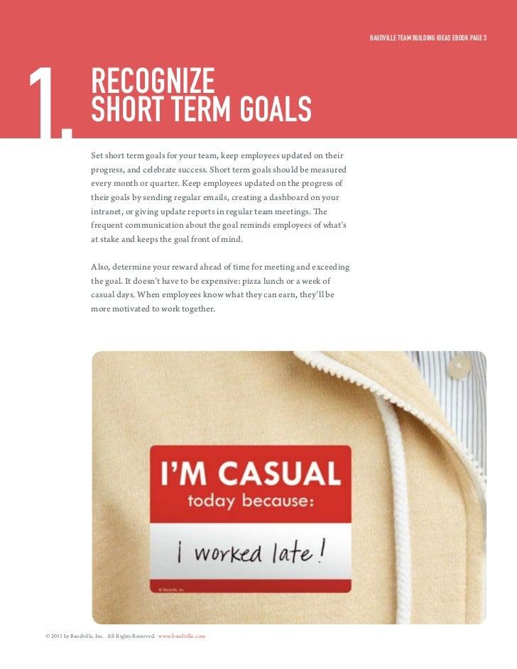Baudville Team Building ideas eBook Page 31.                recognize                  sHorT Term goals                  S...