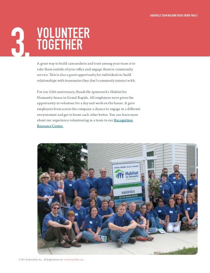 Baudville Team Building ideas eBook Page 53.                volunTeer                  TogeTHer                  A great w...