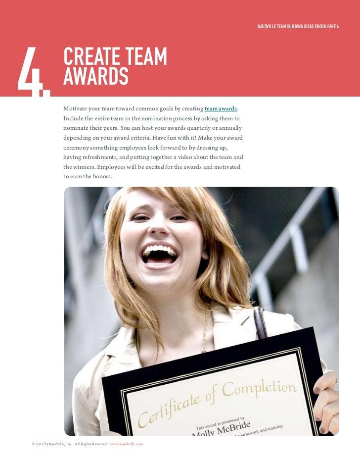 Baudville Team Building ideas eBook Page 64.                creaTe Team                  awards                  Motivate ...