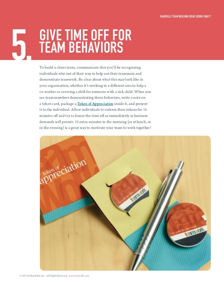 Baudville Team Building ideas eBook Page 75.                give Time off for                  Team BeHaviors             ...