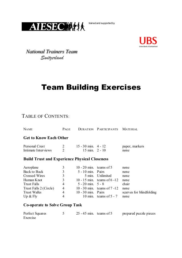 trained and supported byTeam Building ExercisesTABLE OF CONTENTS:NAME PAGE DURATION PARTICIPANTS MATERIALGet to Know Each ...