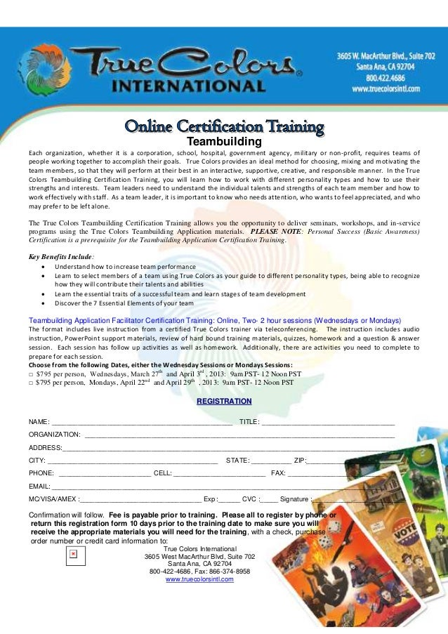 True Colors Teambuilding Online Certification Training For Marchapr