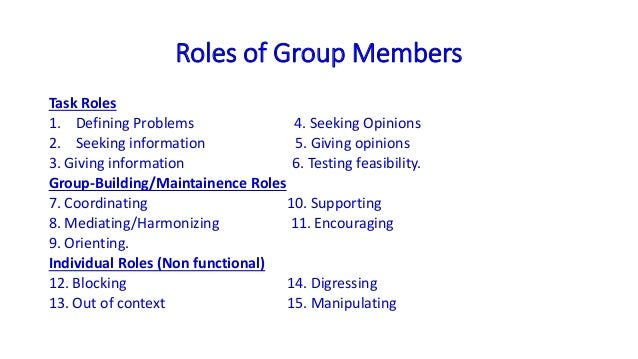 roles in groups essay Read this essay on team and group roles come browse our large digital warehouse of free sample essays get the knowledge you need in order to pass your.