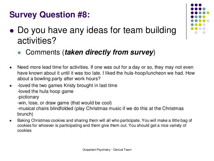Team Building Survey Results