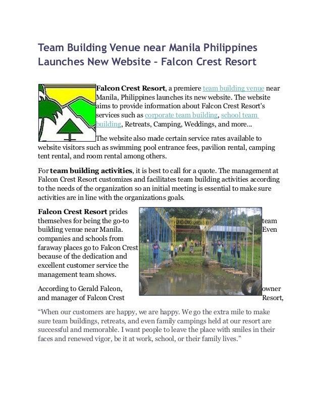 Team Building Venue Near Manila Philippines Launches New Website Fa