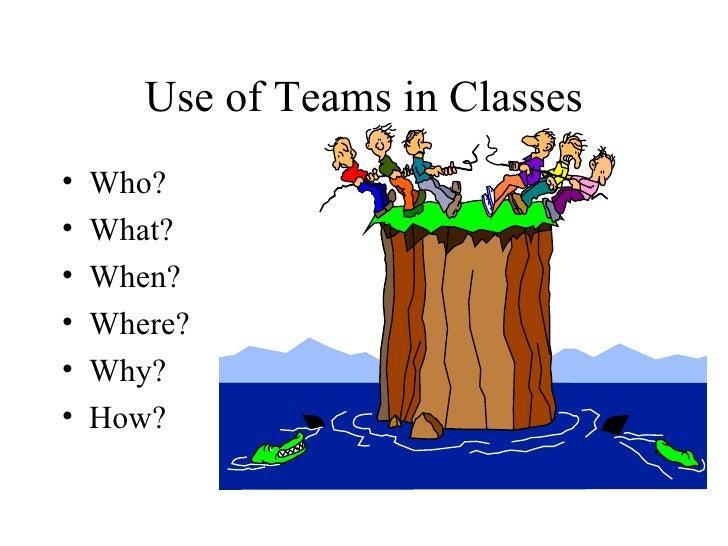 Use of Teams in Classes <ul><li>Who? </li></ul><ul><li>What? </li></ul><ul><li>When? </li></ul><ul><li>Where? </li></ul><u...
