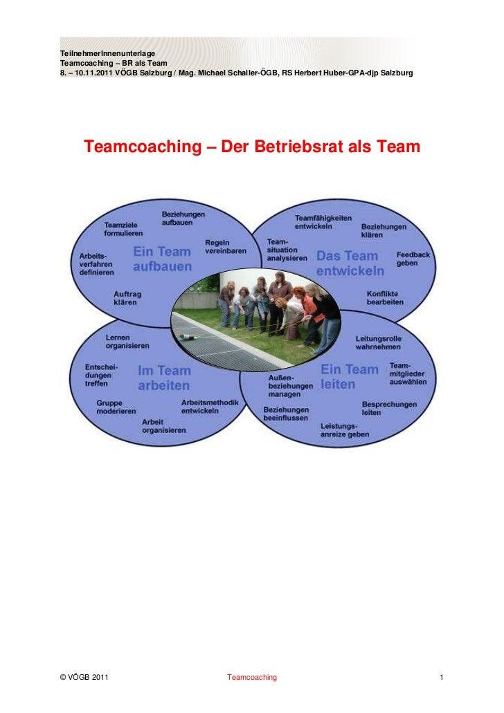 TeilnehmerInnenunterlageTeamcoaching – BR als Team8. – 10.11.2011 VÖGB Salzburg / Mag. Michael Schaller-ÖGB, RS Herbert Hu...