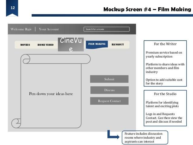 12                                                         Mockup Screen #4 – Film MakingWelcome Rajiv   Your Account     ...