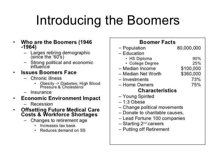 baby boomers effect on health care The report uses this support  of the baby boomers and their potential future effect on health care and ltss, little attention has been paid to the role.