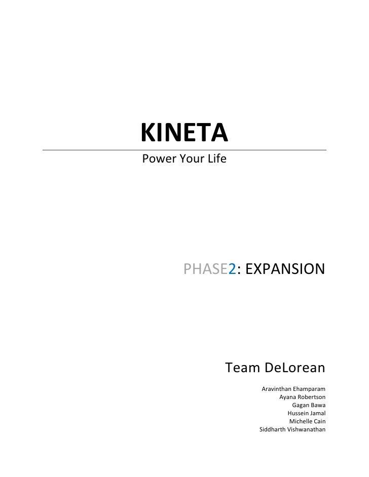 KINETA Power Your Life            PHASE2: EXPANSION                   Team DeLorean                    Aravinthan Ehampara...
