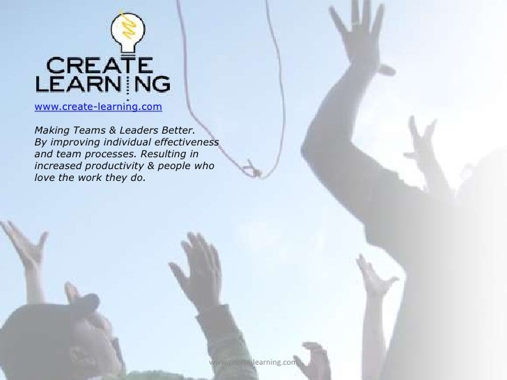 www.create-learning.com<br />Making Teams & Leaders Better. <br />By improving individual effectiveness and team processes...