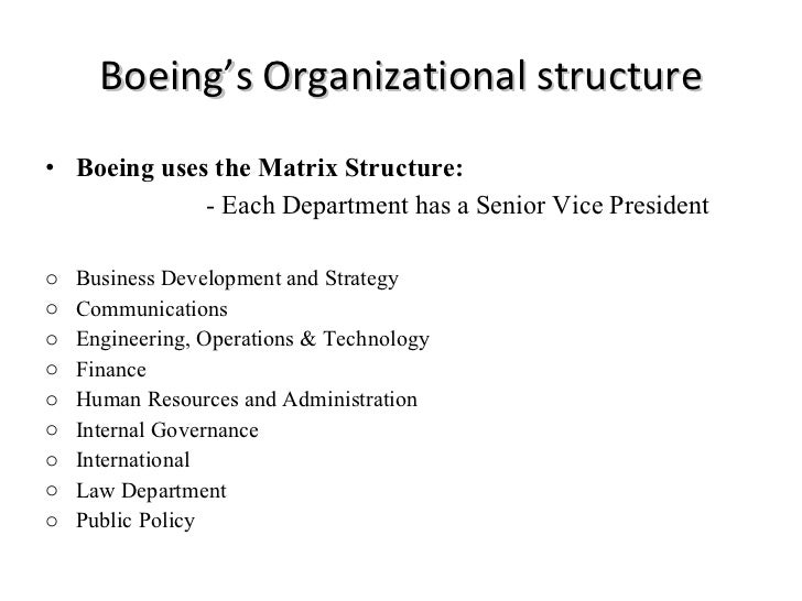 management structure of boeing essay The boeing company has effectively and efficiently optimized its monetary resource allocation function of management in 2009 according to the certified annual report of the boeing company in 2009, the company revenue increased by $68 billion which reflected the solid earnings despite of 2008 labor strike where 57, 000 employees walked out.