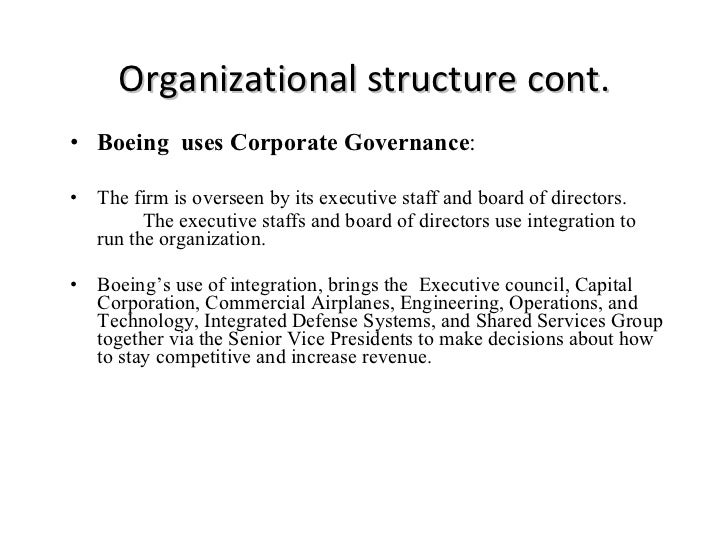 boeings organizational structure All organizations require some form of organizational structure to implement and manage their strategies boeings challenges and opportunities in the 90's.
