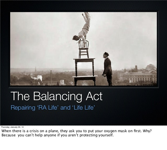 The Balancing Act Repairing 'RA Life' and 'Life Life'  Thursday, January 30, 14  When there is a crisis on a plane, they a...