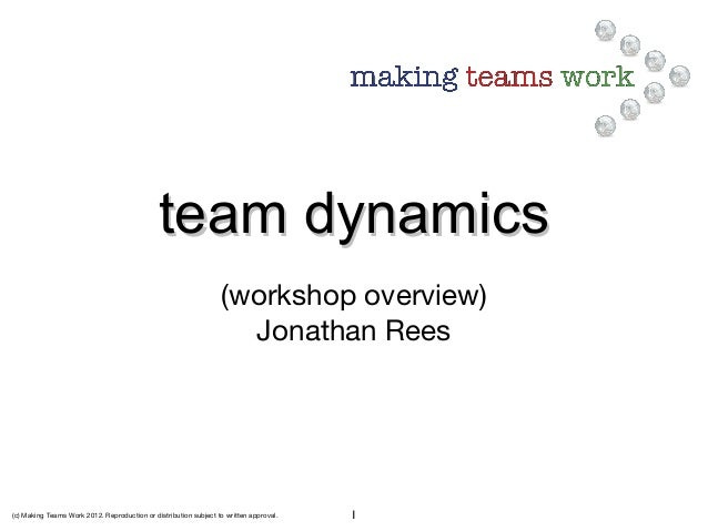 (c) Making Teams Work 2012. Reproduction or distribution subject to written approval. 1 team dynamicsteam dynamics (worksh...