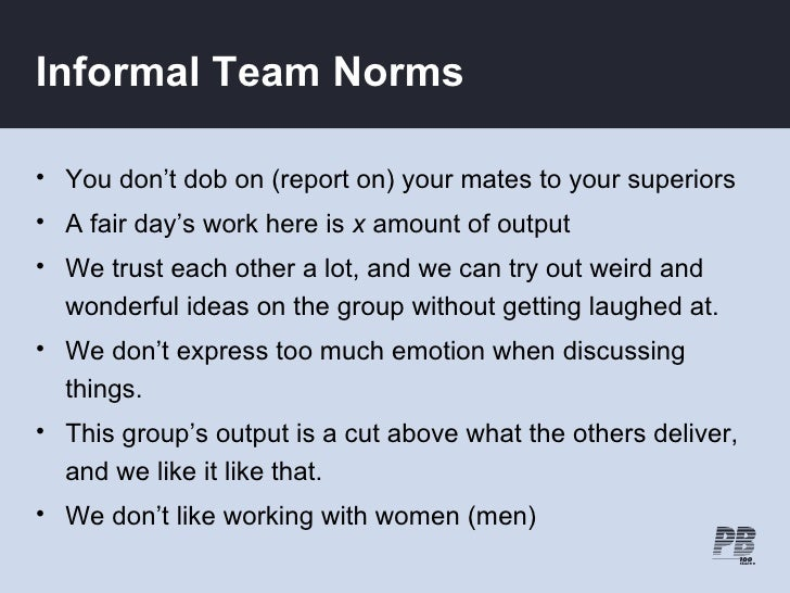 Informal Team Norms  • You don't dob on (report on) your mates to your superiors • A fair day's work here is x amount of o...
