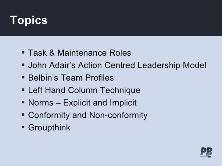 Topics      Task & Maintenance Roles     John Adair's Action Centred Leadership Model     Belbin's Team Profiles     L...