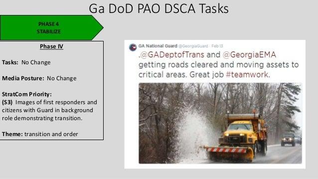 Ga DoD PAO DSCA Tasks PHASE 4 STABILIZE Phase IV Tasks: No Change Media Posture: No Change StratCom Priority: (S3) Images ...
