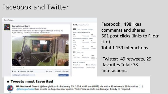 Facebook and Twitter Facebook: 498 likes comments and shares 661 post clicks (links to Flickr site) Total 1,159 interactio...