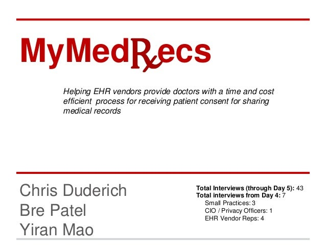 MyMed ecs  Helping EHR vendors provide doctors with a time and cost  efficient process for receiving patient consent for s...